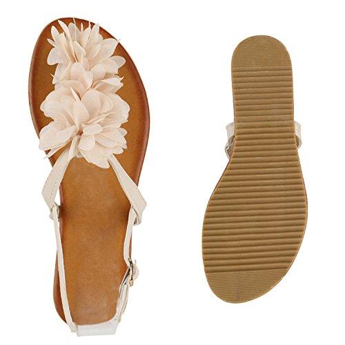 Damen Sandalen Zehentrenner Sommer Schuhe Flats Blumen Creme