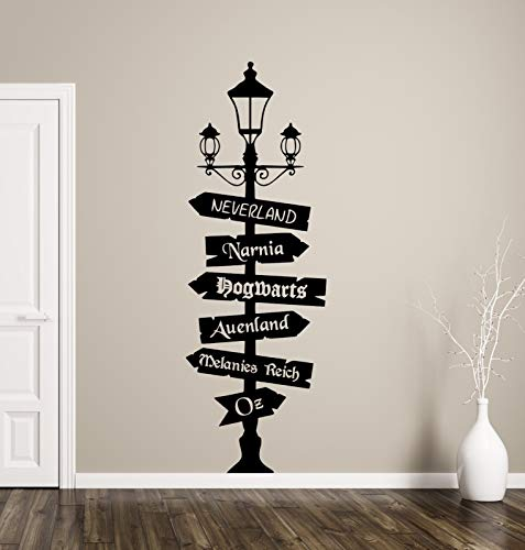 tjapalo® tk48 Wandtattoo Wegweiser Fantasy mit Wunschtext -ein Schild selbst gestalten- Fandom Hogwarts Oz Wonderland Wandaufkleber Wohnzimmer, Größe: H180xB58cm (Blickfang), Farbe: kupfer - Kupfer Schild