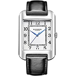 Blenheim London® B3180 Curve Watch White Arabic Numeral with Blue Hands with Black Leather Strap