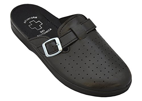 Relaxen Herren Arbeitsschuhe Medizinische Schuhe Pantoletten Komfort Hausschuhe Arbeit Leicht und Bequem Modell 2021 (45, Schwarz)