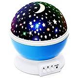 Sterne Mond Projektor Nachtlicht,Sternenmond Schlaf Nachtlicht Lampe mit romantische Musik, USB Lade 360 Grad Rotierenden Rundleuchte,Kinder Baby Schlafzimmer Nachtlicht (Blau)