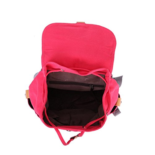 Eshow Damen Canvas Freizeit Sportlich Uni Rucksack Taschen Rot