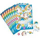 Pack of 12 - Unicorn Party Sticker Sheets - Great Stocking Party Loot Bag Fillers