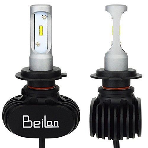 BeiLan Lampadina H7 Led, CSP 50W 8000LM Fari Abbaglianti o Anabbaglianti per Auto Kit - 6500K Sostituzione per Luci Alogene o Lampade Hid Lampada Luminosa-2 pezz