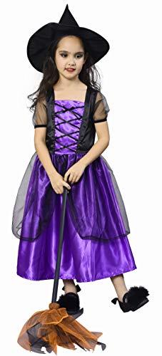 IKALI Hexe Kostüm für Kinder Mädchen, Halloween Karneval Party Kleid mit Hut