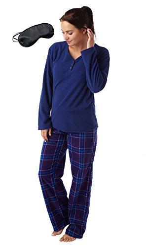 i-smalls Ltd - Ensemble de pyjama - Pyjama - Manches Longues - Femme Bleu - Navy with Check Pants