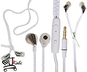 New Designed Zipper Style In Ear Bud Earphones Handsfree Compatible For Elenphone P7000 -White