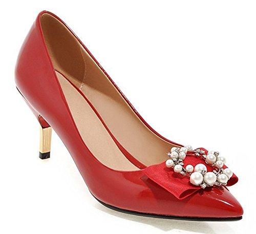 Aisun Femme Elégant Strass Nœud Papillon Escarpins avec Perle Rouge