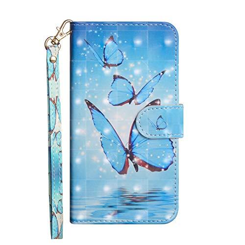 Hnzxy für Samsung Galaxy Xcover 4 Hülle Handyhülle 3D Luxus Muster Schutzhülle PU Leder Brieftasche Flip Case Bookstyle Wallet Tasche Case Magnet Kartenfach für Galaxy Xcover 4,Blauer Schmetterling -