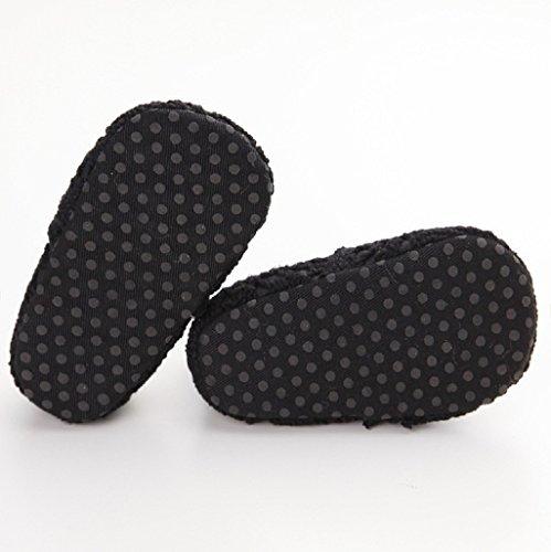 Auxma Baby-Mädchen-weiche Sole-Krippe-Schuh-Kleinkind-neugeborene Sommer-Herbst-Schuhe für 0-18 Monat (12cm(6-12M), Weiß) Schwarz