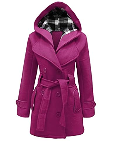 New Womens Ladies Belted Fleece Hooded Coat Button Long Sleeve Warm Jacket Top