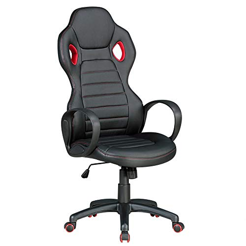 Bürostuhl Staphan, schwarz/rot, Kunstleder, Schreibtischstuhl, Gamingstuhl, Drehstuhl, Sessel, Stuhl, Büro, Arbeitszimmer, Möbel, Sitzmöbel