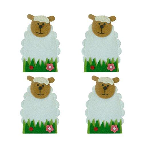 D DOLITY 4er-Set Süße Ostern Schafe Besteckhalter Bestecktasche Besteckbeutel Perfekt Geschenk für Kinder, aus Vliesstoff (Süße Lamm Kostüm)