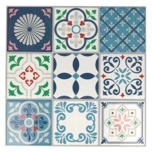 Stickers carreaux de ciment 8 cm - Blanc, bleu, vert, rouge - 18 carreaux
