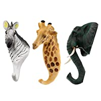 Fenteer 3pcs Giraffe Zebra Elephant Head Decorative Wall Hook Modern Animal Shaped Hanger with Suction Cup