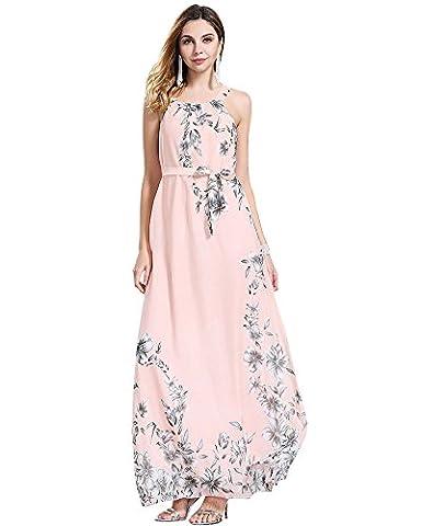 Moollyfox Femme Floral Imprimé Maxi Robe Longue Grande Taille Sans Manches, Robe de Soirée, Robe de Plage Rose Clair XXXL