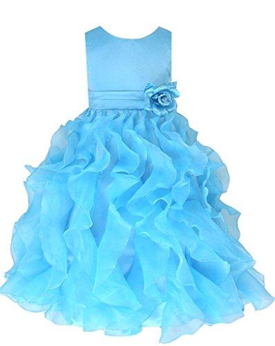 festkleid kinder go2victoria Organza Brautjungfern Anlässe Festkleid Blumenmädchen Kleid Turquoise Gr.98/104 (T232-4#)