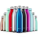 Proworks Edelstahl Trinkflasche | 24 Std. Kalt und 12 Std. Heiß - Premium Vakuum Wasserflasche - Perfekte Isolierflasche für Sport, Laufen, Fahrrad, Yoga, Wandern und Camping - 500ml - Blau