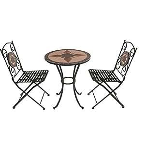 Bagno Italia Arredamento per Esterno Set Giardino tavolino Rotondo in Mosaico con 2 sedie arredo Ferro battuto