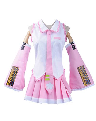 Cosplayfly Damen Vocaloid Sakura Hatsune Miku Cosplay Kostüm Halloween Cosplay Costume Kleid + Krawatte S