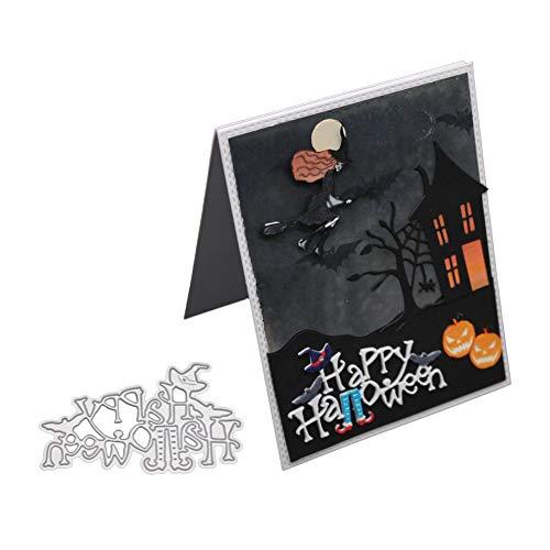 XuBa Kuchenmuster Happy Halloween Stanzformen Schablone Metall Form Vorlage für DIY Scrapbook Album Papier Karte machen