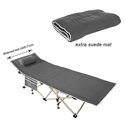 DlandHome 190 * 71 * 37CM Campingbett Klappbett belastbar mit Gämse Pad gepolstertem Kissen und Seitentasche,Grau