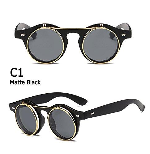Arbeiten Sie Weinlese-runde Retro- Steampunk Sonnenbrille Classic Double Layer-Clamshell Design Sun Glasses