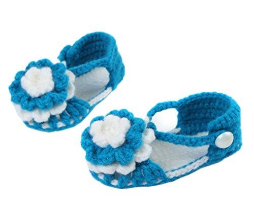 Bigood(TM) 1 Paar Strick Schuh Baby Unisex Strickschuh One Size süße Muster 11cm lilienweiss Blume Dunkelblau Q