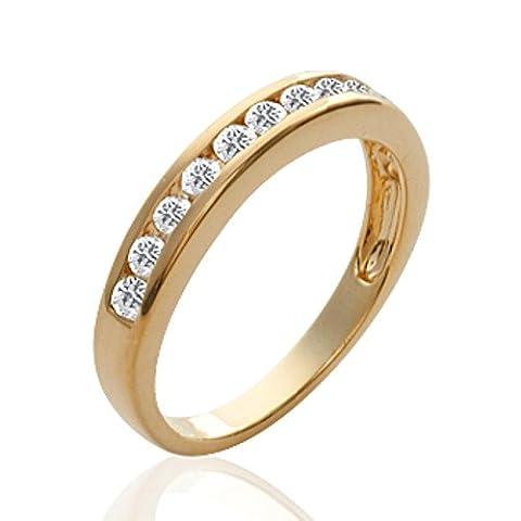 ISADY - Erin Gold - Bague femme - Plaqué Or 750/000 (18 carats) - Oxyde de zirconium transparent - Taille 50