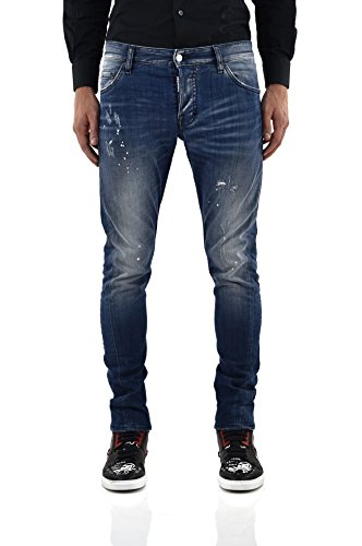 Preisvergleich Produktbild Dsquared2 Men's SEXY TWIST JEAN with red turn-ups Blue - size 50