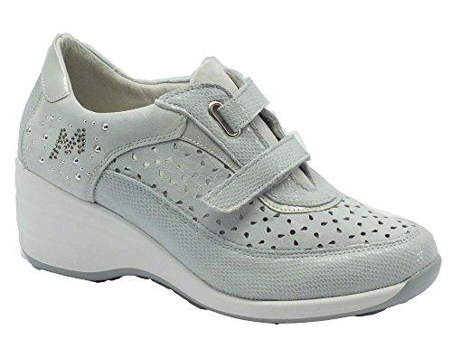Sneakers Melluso per donna in camoscio e nabuk ghiaccio satinato Ghiaccio