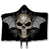 Morbuy Decke Mit Kapuze, Winter Warme Vlies Erwachsene 150x200cm/130x150cm Decken mit Hoodie Decke für Couch Sofa oder Bett (200 x 150cm, Sternschädel)