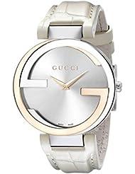 Gucci Damen-Armbanduhr INTERLOCKING Analog Quarz Leder YA133303