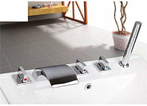 Teile Badewanne Wasserhahn (Messing Teilen warmen und kalten Wasserhähne/Bad Badewanne Wasserhahn Set von fünf/Fällt 5-Loch Armatur heiße und kalte Duschen-C)