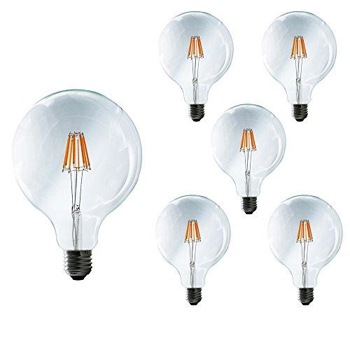 Mengjay® 5 pezzi G125 filamento della lampada LED sostituisce 60 Watt E27, 8W 650 Lumen 2200-2300K lampada a filamento caldo bianco filamento 360 ° 220V AC, non dimmerabile, 1 anni di garanzia