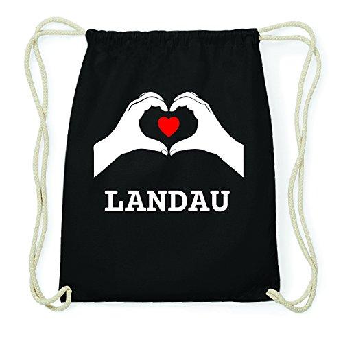 JOllify LANDAU Hipster Turnbeutel Tasche Rucksack aus Baumwolle - Farbe: schwarz – Design: Hände Herz - Farbe: schwarz (Landau-herz)