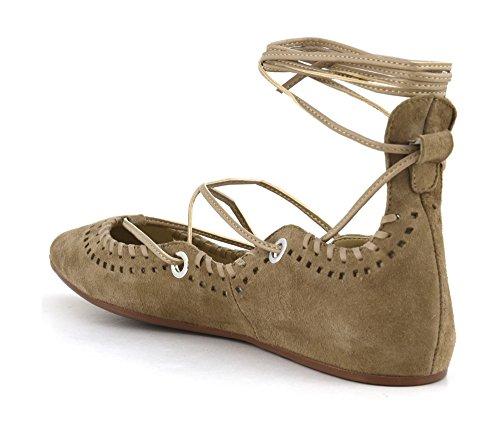 CafèNoir ED507-085 scarpe donna ballerine camoscio bianco ghiaccio con lacci alla schiava 273 TAUPE