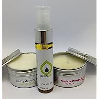 Massage-Set mit Thalasso Eau de sel, 1 Massagekerze, 1 Massagespray, 1 Karité-Butter, 1 Aufbewahrungstasche preisvergleich bei billige-tabletten.eu