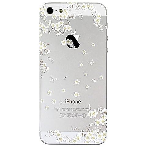 Coque iPhone 5 / 5S / SE, Yokata PC Dur Housse Étui Clair Doux avec TPU Silicone Gel avec Bumper Blanc Fleur Motif Ultra Mince Crystal Case