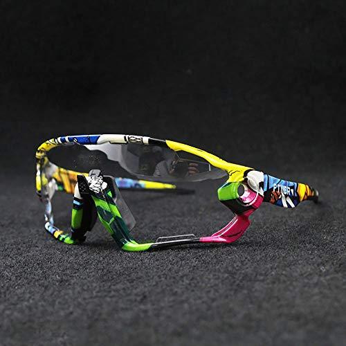 HKYMBM Radsportbrille, photochrome Sonnenbrille für Unisex-Sportbrillen mit UV-Schutz und Riemen zum Reiten, Fahren, Angeln, Golfbrille,F