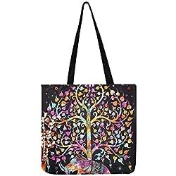 Handtasche mit Elefantenbaum, Gobelin-Baum-Motiv, für Damen und Herren, Weiß