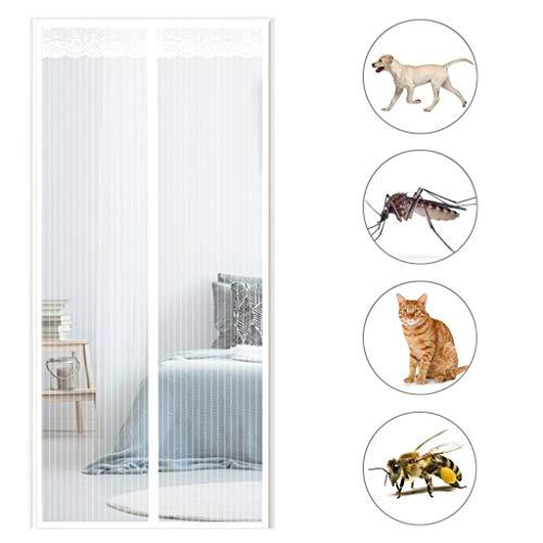 GOUDU Fliegengitter Tür Magnetisch, Magnetvorhang, Insektenschutz, Ohne Bohren, für Balkontür Wohnzimmer Terrassentür - Weiß 140x210cm(55x83inch)