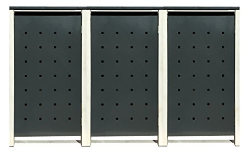 BBT@ | Hochwertige Mülltonnenbox für 3 Tonnen je 240 Liter mit Klappdeckel in Grau / Aus stabilem pulver-beschichtetem Metall / Stanzung 2 / In verschiedenen Farben sowie mit unterschiedlichen Blech-Stanzungen erhältlich / Mülltonnenverkleidung Müllboxen Müllcontainer