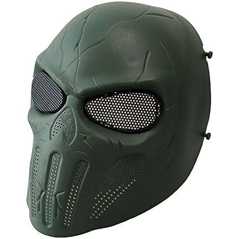 wwman completo cara calavera máscara de Airsoft Tactical Paintball CS Protective Gear equipo, OD