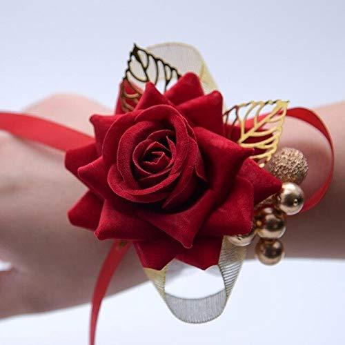 MCYY Handgelenk Blume Handgelenk Blume rosa Hochzeit Armband Brokat Prom Armband für Braut Bourdain KorsettStil 1 - Brokat-armband