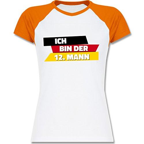 Shirtracer Fußball-WM 2018 - Russland - Ich Bin der 12. Mann Deutschland - Zweifarbiges Baseballshirt/Raglan T-Shirt für Damen Weiß/Orange