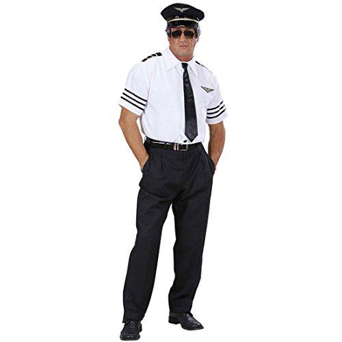 Kapitän Kostüm Set Piloten Anzug 48 S Pilot Hemd Mütze Krawatte Pilotenkostüm Karnevalskostüme Herren Sexy Junggesellenabschied Fliegerkostüm JGA Striptease Uniform