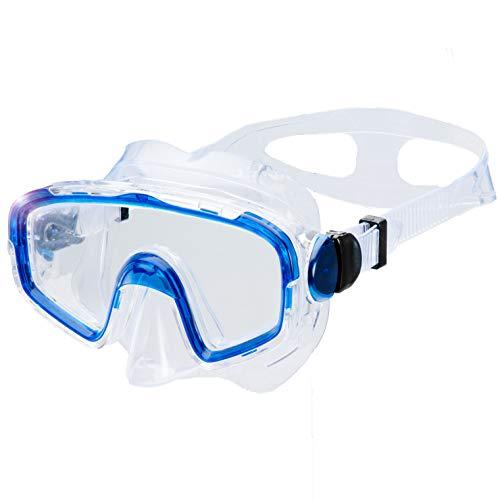 AQUAZON Shark Junior Medium Schnorchelbrille, Taucherbrille, Schwimmbrille, Tauchmaske für Kinder, Jugendliche von 7-14 Jahren, Tempered Glas, sehr robust, tolle Paßform, Farbe:blau transparent
