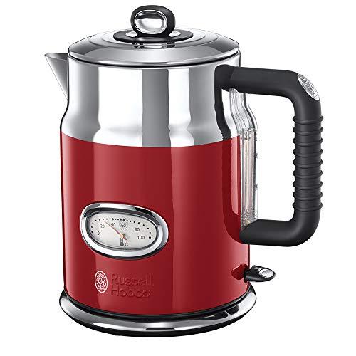 Russell hobbs bollitore retro, acciaio inox, capacità di1,7l, 2400 watt, bollitura rapida, filtro rimovibile, rosso, 21670-70
