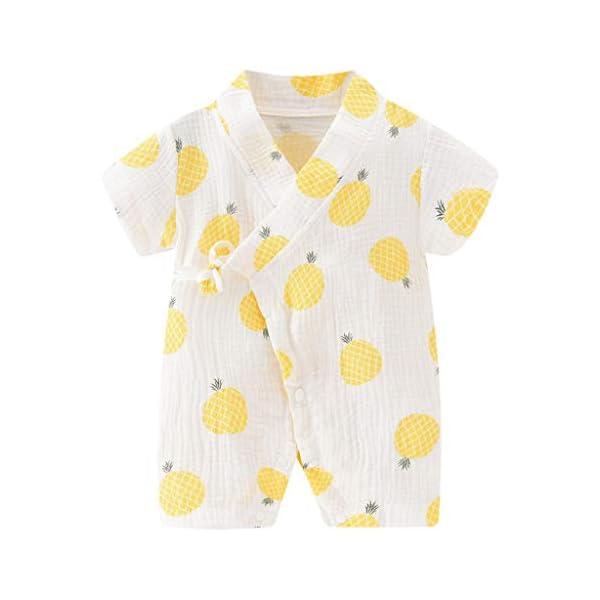 MAYOGO Bebé ReciéN Nacido Kimono Bata Estampado Bebé NiñO Manga Corta V-Cuello Verano Mono Pijama Correa Bebé niño… 1